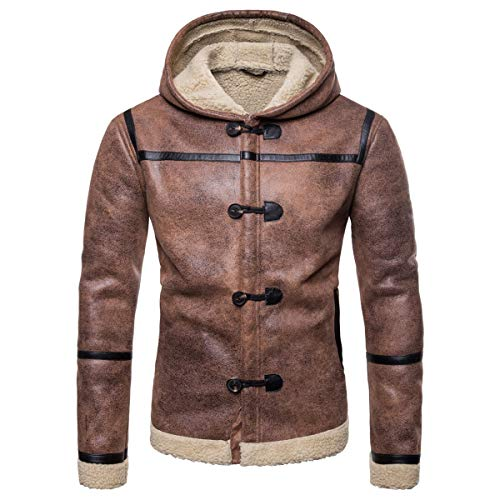 AOWOFS Men's Hooded Faux Leather Jacket Brown Suede Motorcycle Bomber Shearling Stand Collar Winter Coat