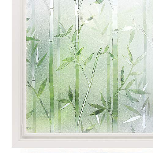 Rabbitgoo 3D Privacy Window Film No Glue Static Window Cling Glass Film Bamboo Frosted Window Films Privacy Static Cling Vinyl Decorative Glass Film 23.6 x 78.7 inches (1.96 x 6.56 feet)