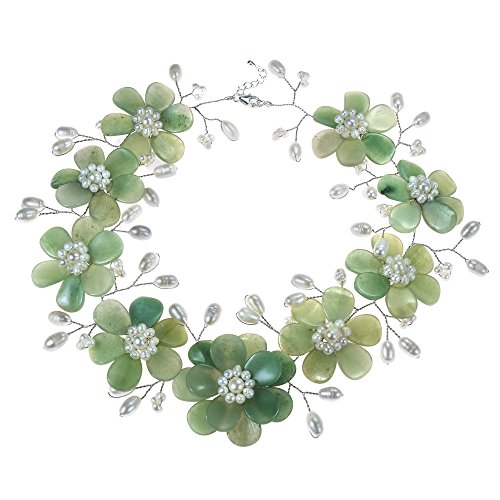 AeraVida Sublime Floral Green Quartz-Cultured Freshwater White Pearls Necklace from AeraVida