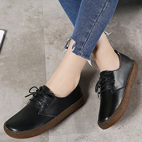 Women's Lace Oxfords Shoes Toe Round Black up Classic Casual Shoes JULY T Flat Retro 5qwUUY