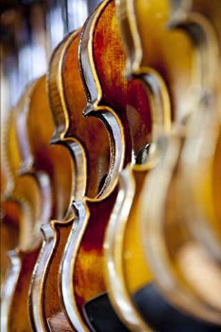 A Row of Violins Musical Instrument Journal: 150 Page Lined Notebook/Diary (Violin Practice Notebook)