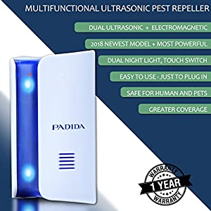 Ultrasonic Pest Repeller Pest Control [2018 UPGRADED] Plug in Electronic repellant Kit with Dual Night Light, Touch Switch for Mice, Mosquito, Flea, Ant, Rats, Roaches, Rodent, Fruit Fly Repelling