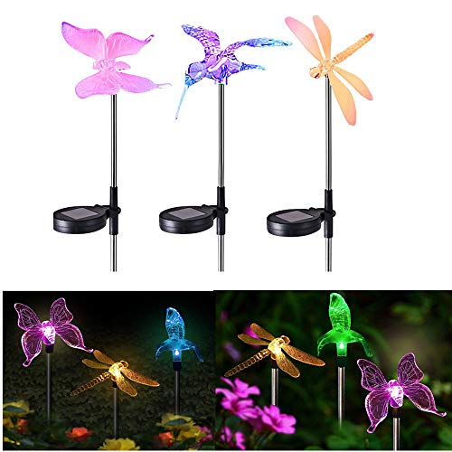 - debieborahtoys Solar Garden Lights Outdoor LED Figurine Stake Light Multi-Color Changing LED Garden Lights Dragonfly, Butterfly & Hummingbird for Patio Lawn Yard Pathway