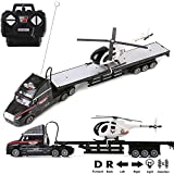 rc dump trucks with trailer - 1:20 Scale Battery Operated Big Rig Semi Long Hauler Trailer with Helicopter Detachable Flatbed Transporter Toy Truck with Lights & Sounds, Great Christmas Gift for Kids, Black