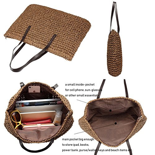 Bag Women Beach Top Bag Hobos Bags Handbag Totes Shoulder Vacation Handle Brown Straw Weekender Defeng RnOqdR