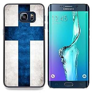 "Qstar Arte & diseño plástico duro Fundas Cover Cubre Hard Case Cover para Samsung Galaxy S6 Edge Plus / S6 Edge+ G928 (Bandera nacional de la Serie-Finlandia"")"