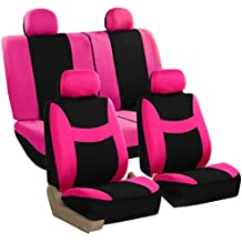 FH Group Stylish Cloth (Airbag & Split Ready) Full Set Car Seat Covers, Pink/Black- Fit Most Car, Truck, SUV Van