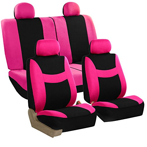 FH Group Stylish Cloth Airbag Split Ready Full Set Car Seat Covers Pink Black Fit Most Truck Suv Or Van