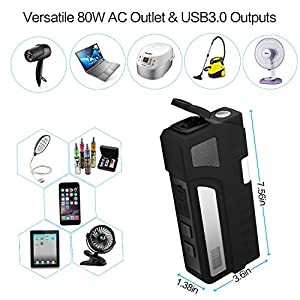 AIVANT AC Oulet Power Bank, 20000mAh AC 100-120V/85Watts Portable Charger Cellphone Laptop Battery Pack Auto Battery Booster Car Jump Starter