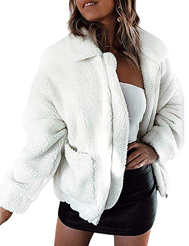 Doreyi Womens Double Breasted Lapel Open Front Fleece Coat with Pockets Outwear (2-White, L)