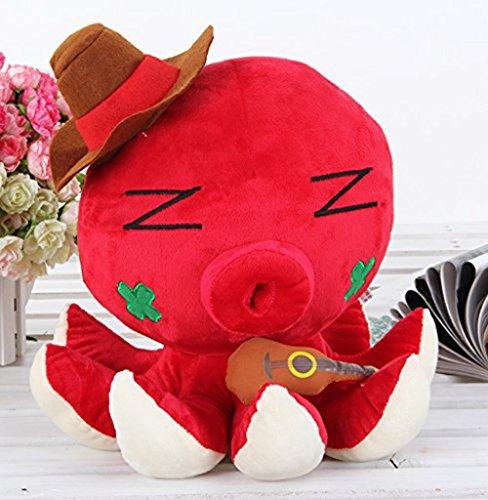 Grimbatol 35Cm Adorable Octopus Plush Toy Soft Stuffed Animal Doll(Red)