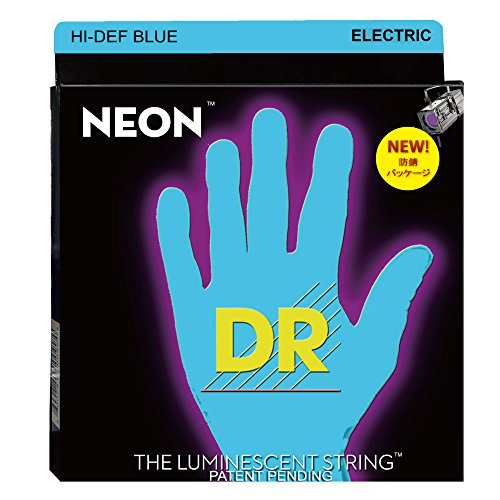 DR Strings Hi-Def NEON Blue Coated Medium  Electric Guitar S