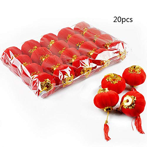 WDDH Chinese Traditional Red Lanterns,20 Pcs Lucky Hanging Lanterns Decoration- Spring Festival Hang Mini Lantern for Chinese Spring Festival and Celebration ()