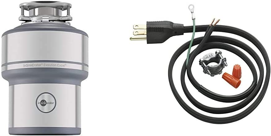 InSinkErator Garbage Disposal, Evolution Excel, 1.0 HP Continuous Feed & Garbage Disposal Power Cord Kit, CRD-00