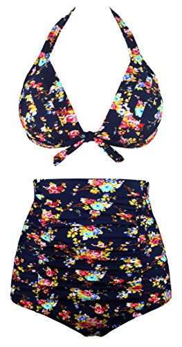 Angerella Women Vintage High Waisted Two Piece Swimsuit (BKI045-N1-2XL)