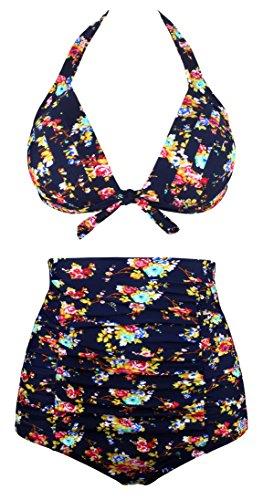 Angerella Women Vintage High Waisted Bikinis Swimsuits (BKI045-N1-XL)