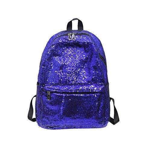Women's Solid Color Shinning Glitter Bling Backpack Sequins Travel Satchel, LLguz Fashion Girl School Shoulder Bags Travel Rucksack (Blue) -