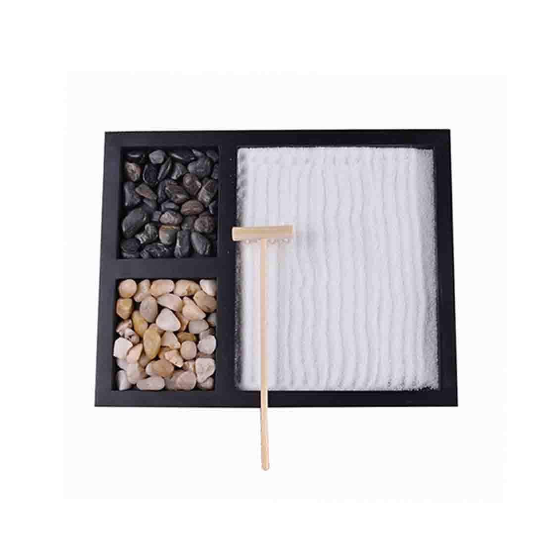 1.2cm Mini Zen Garden Sandbox Desktop Sand Garden DIY Ornament Natural Stone Gift Set 21.5 17