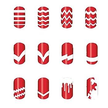 enForten Professional DIY Nail Art High Quality Various Styles White Tip Guides Stickers Nail Vinyl Manicure Art Sticker Stencil Bundle Pack of 12pcs