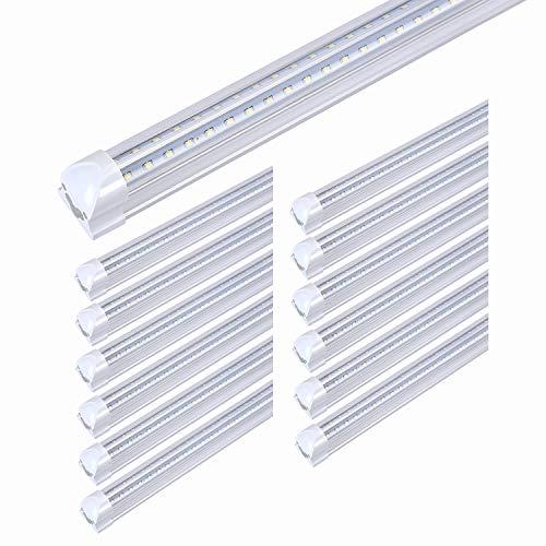 8FT LED Light Fixtures 72W, 8FT LED Shop Light Fixture 5000K Daylight White Dual Side T8 V-Shape Integrated 8 Foot LED Tube Lights(150W Fluorescent Light Equivalent), 8640Lm, Clear Cover(12 Pack)