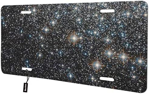 Beabes Starry Sky Front License Plate Cover,Galaxy Lighthouse Night Stars Decorative License Plates for Car,Aluminum Novelty Auto Car Tag Vanity Plates Gift for Men Women 6x12 Inch