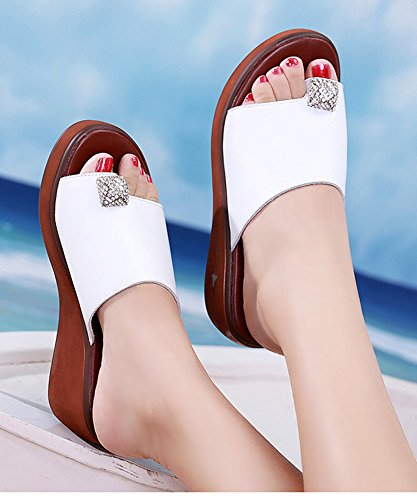 Mules Ouvert Chic Orteil Femme Blanc Strass Aisun Bout Piscine HCq4anOv0w