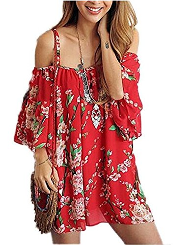 Teamoluna Women's Vogue Off-The-Shoulder Plum Blossom Chiffon Dress Red One Size - Plaid Dress Shorts
