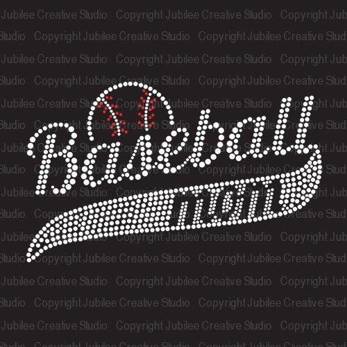ff6cc1ccf5c51 Baseball Mom Classic Iron On Rhinestone Crystal T-Shirt Transfer by JCS  Rhinestones
