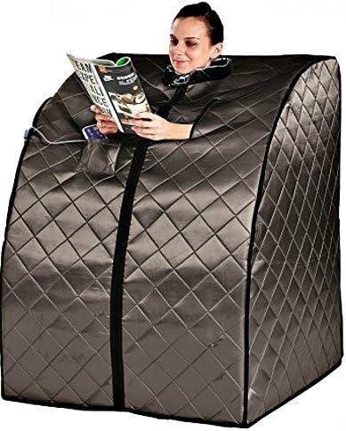 Sauna Portable Infrared FAR Carbon Fiber Panels – Wired Remote Control – Max Heat 150 Degrees – Heated Foot Pad – Negative Ion Generation – Rejuvenator Model SA6310-bw