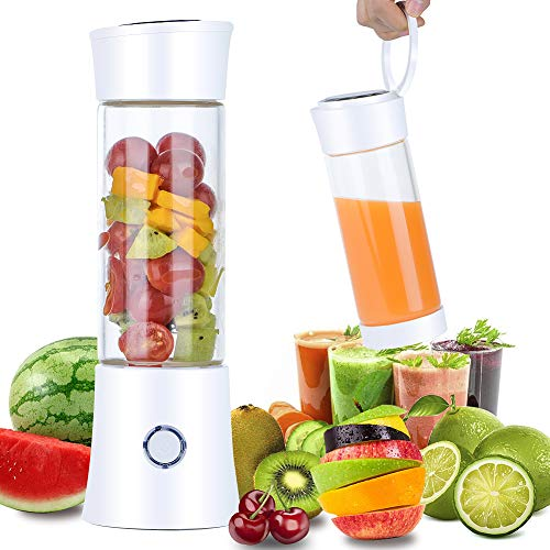 Portable Blender, 2019 Newest Pendali Personal Size Smoothie Juice Blender Fruit Mixer Six Blades in 3D, 480ml Glass Juicer Cup with 4000mAh USB Rechargeable for Travel Office, FDA BPA Free