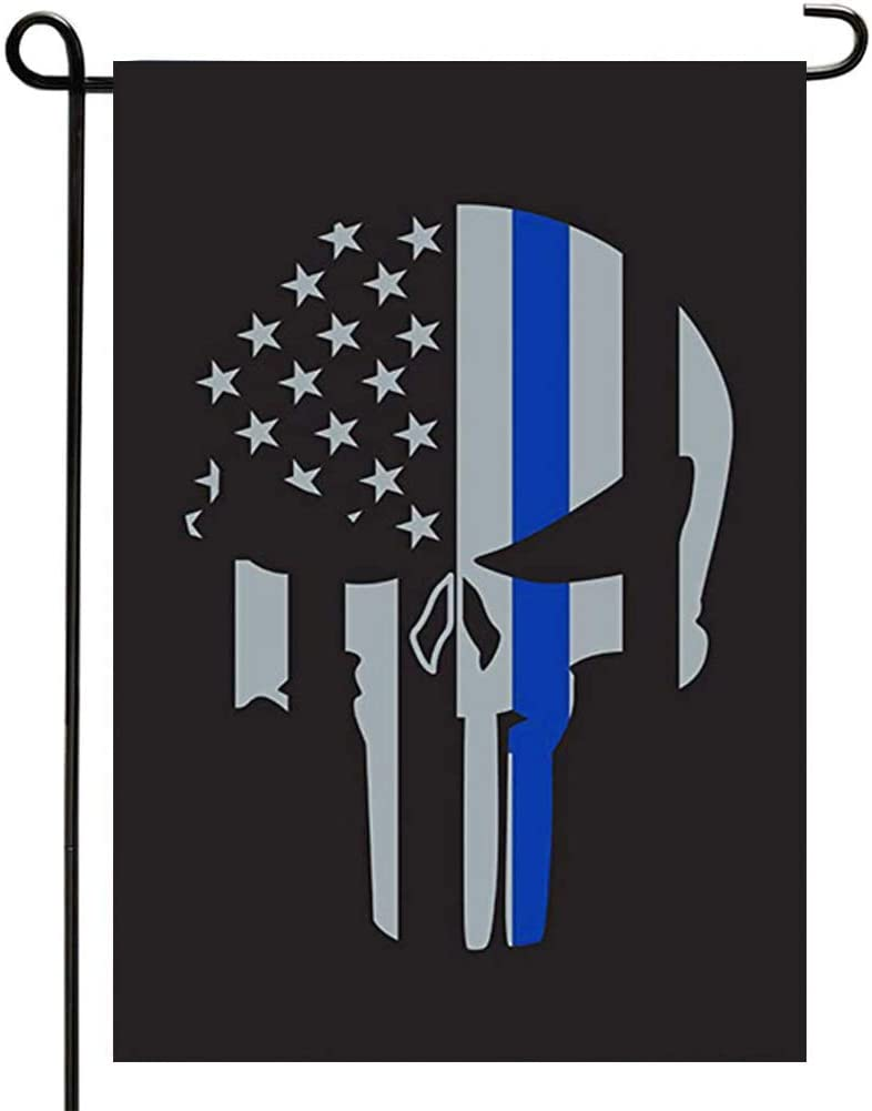 Thin Blue Line Punisher Garden Flag Double Sided Skull Garden Flags Memorial American Police Blue Line Flag 12x18 inch