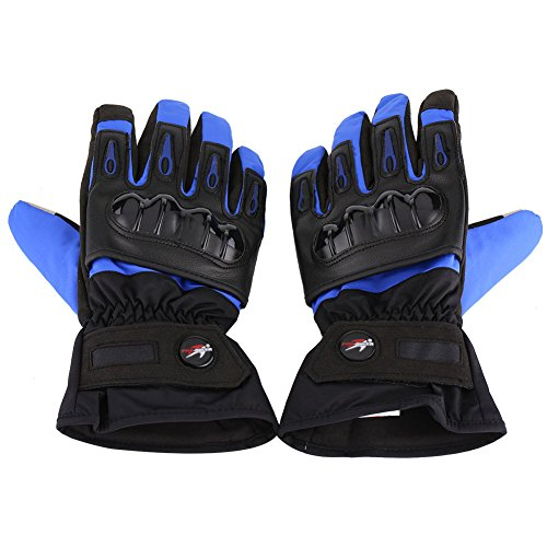 Qiilu 1 Pair Full Finger Touch Screen Motorcycle Racing Waterproof Windproof Winter Protective Gloves(Blue L)