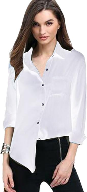 ISSHE Blusa Gasa Blusas Manga Larga para Dama Camisas de Mujer Blusones Camisetas Largas Juveniles Top Cuello en V Boton Tops Camisa Elegantes Anchas Verano Color Solido Casual: Amazon.es: Ropa y accesorios