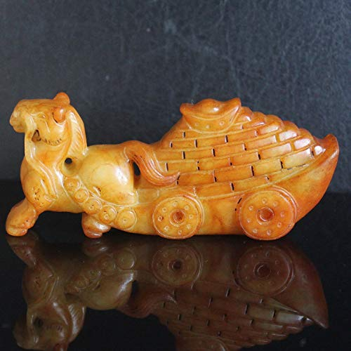 Stunning Chinese Old Jade Horse Gold Ingot Gold Brick Figurine Animal Carving Collection