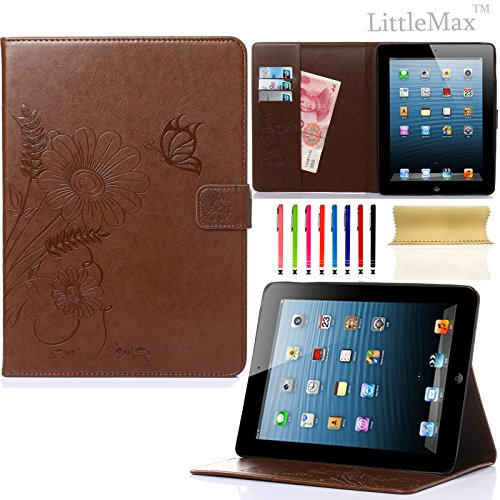 Pure Peony Series (iPad 4 Case,iPad 2 3 Case-LittleMax Smart Leather Case Embossed Butterfly&Flower Pure Color Series [Magnetic Closure] Stand Case with Card Holder for Apple iPad 2/3/4-#2Brown)