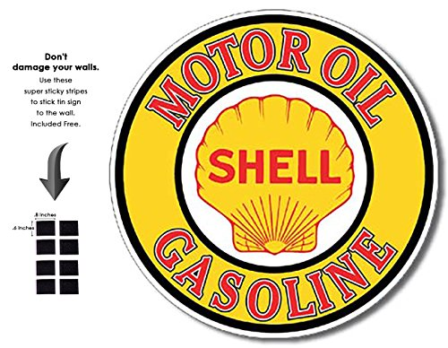 Tin Sign Shell (Shop72 - Motor Oil Tin Signs Retro Vintage Gas Tin sign n Oil Tin Sign Wall Decor Garage - Shell Motor Oil)