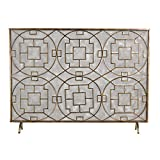 Sterling Metal Fireplace Screens Sterling Industries Geometric Fire Screen 7 X 35 X 46 Inches Silver Model # 51-10160