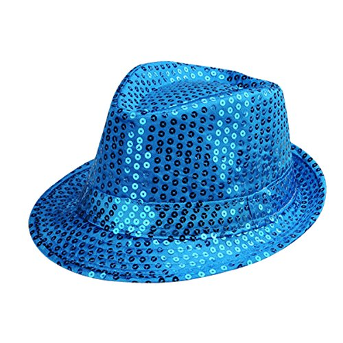 Sequin Fedora Hat (PYP Adult Solid Color Sequins Fedora Hat (Sky blue))