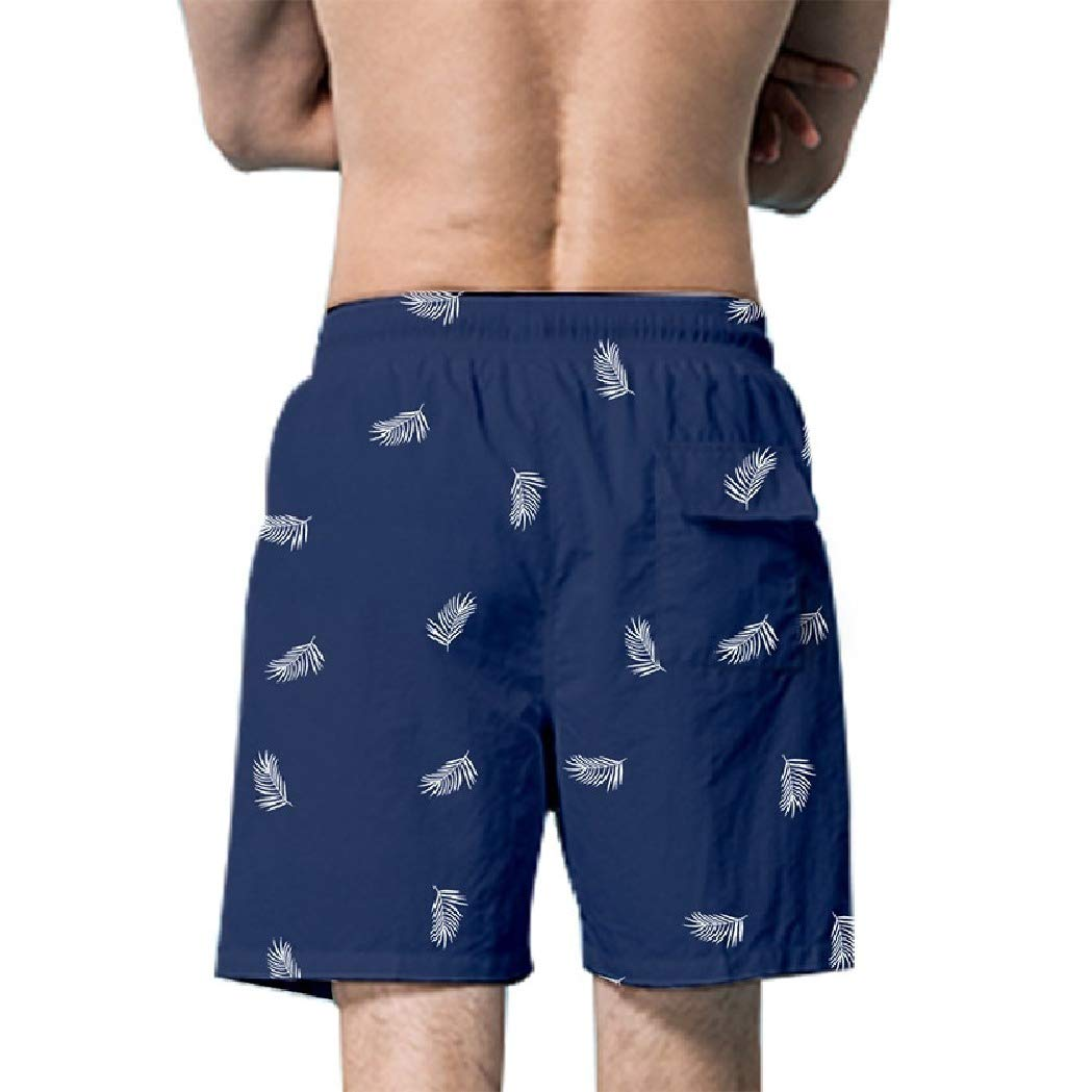 Losait Mens Soft Athletic-Fit Surf Board Casual Printed Beach Swimsuit