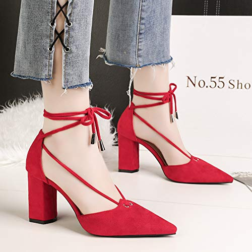 Black Lap Summer Pointed Heeled High Lace Up SFSYDDY Women'S 8Cm Single In Shoes Shallow Shoes Suede Shoes Fine Heel 8vq1SU5