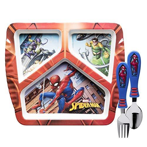 (Zak Designs SDNU-2070-AMZ Marvel Comics Kids Dinnerware Sets Plate + Flatware Spiderman 3pc)
