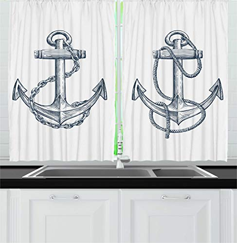 "Ambesonne Anchor Kitchen Curtains, Vintage Sketch Nautical Element Ship Sailing Travel Theme Chain Rope, Window Drapes 2 Panel Set for Kitchen Cafe Decor, 55"" X 39"", Teal White"