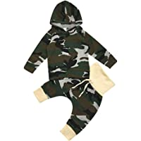 YOUNGER STAR Newborn Infant Baby Boys Camouflage Hoodie Tops +Long Pants Outfits Set Clothes 0-24Months