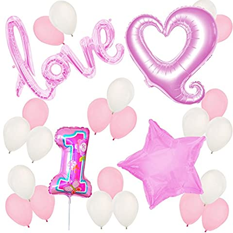 First Birthday Balloons and Decorations - 1st Birthday – Baby Girl Birthday Party (1st Birthday Girl Pin)