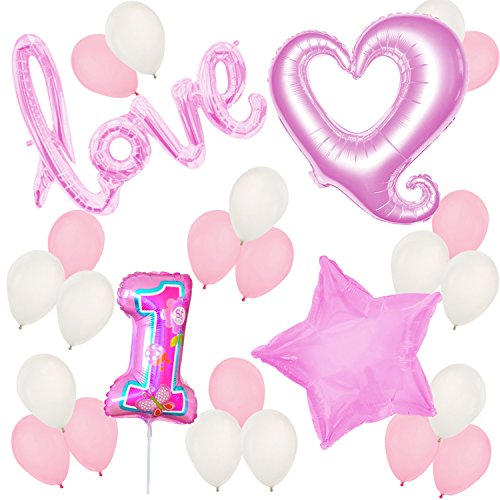 [First Birthday Balloons and Decorations - 1st Birthday – Baby Girl Birthday Party] (Infant Red Minnie My First Disney Costumes)