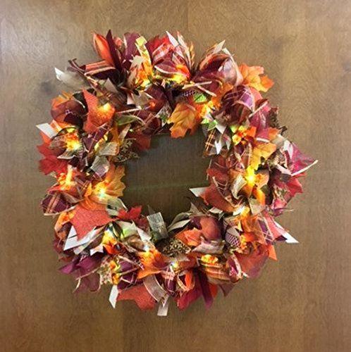 fall light up burlap wreath door decoration with sparkle super cute whimsical thanksgiving