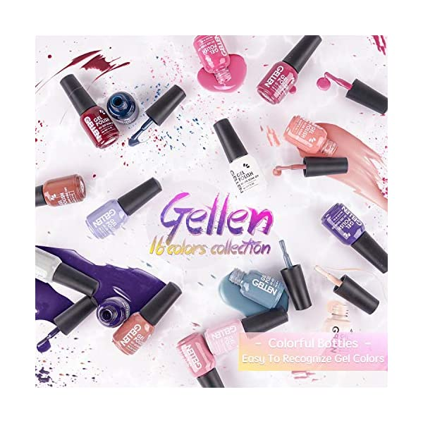Gellen 16 Colors Gel Nail Polish Kit With Top Base Coat - Brown Red Nudes Tone Warm Pastels Collection, Trendy Solid…
