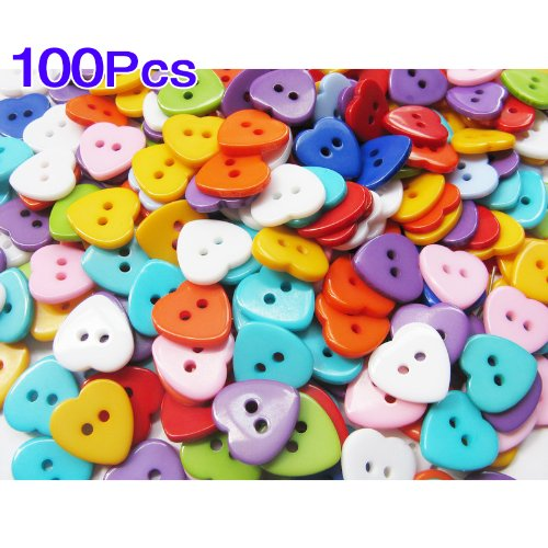100X Kunststoff Herz Zweiloch Knopf Knöpfe Näharbeit