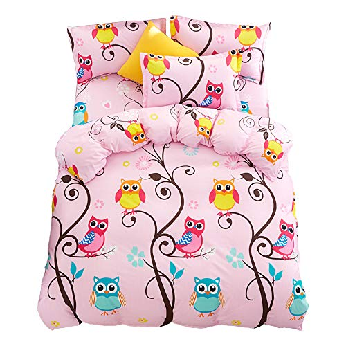 JQWUPUP Cartoon Kids' Duvet Cover Set Queen, 3Pcs (1 Duvet Cover + 2 Pillow Shams) Gift for Teens Girls, Hypoallergenic Durable Microfiber, Fade and Wrinkle-Resistant (Queen, Pink Owl) ()