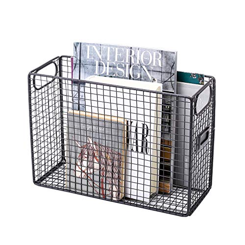 GoldOrcle Desk Organizer File Organizer Food Storage Baskets Bins Mesh Wire Metal Document File Holder with Label Holder, Gray